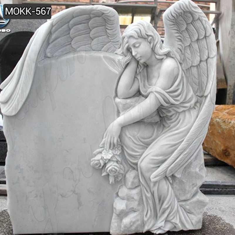 Marble Weeping Angel Memorial Headstones Supplier MOKK-567