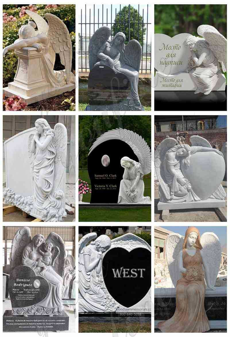 Marble Weeping Angel Memorial Headstones
