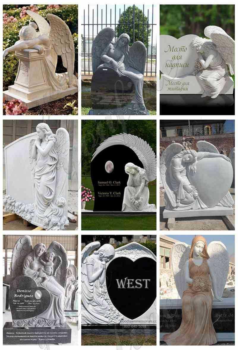 Marble Weeping Angel Memorial Headstones
