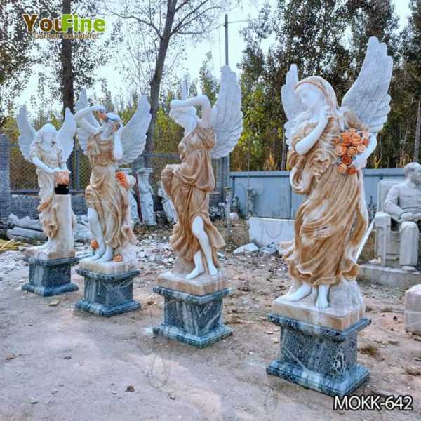 Marble Winged Four Seasons Statues for Outdoor Garden