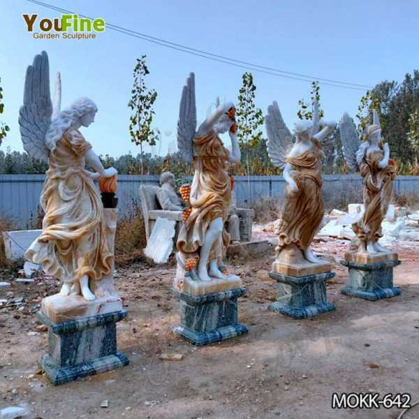 Mixed Color Marble Winged Four Seasons Statues for Outdoor Garden