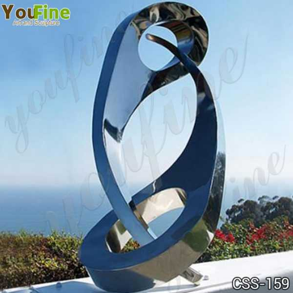 Modern Abstract Yin and Yang Stainless Steel Sculpture