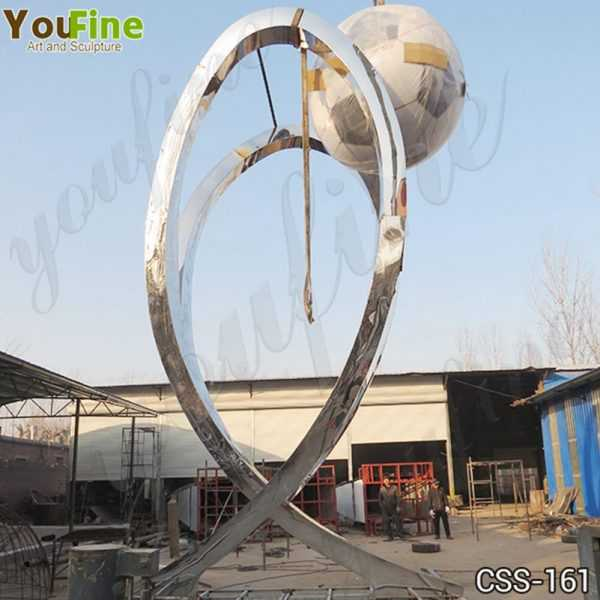 Modern Large Stainless Steel Abstract Football Sculpture