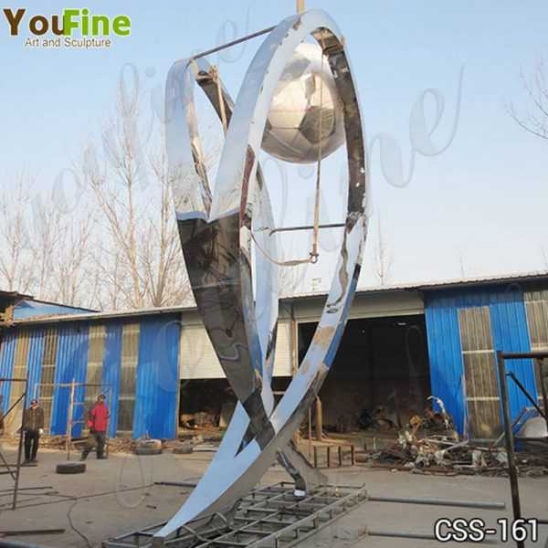 Modern Large Stainless Steel Abstract Football Sculpture Supplier