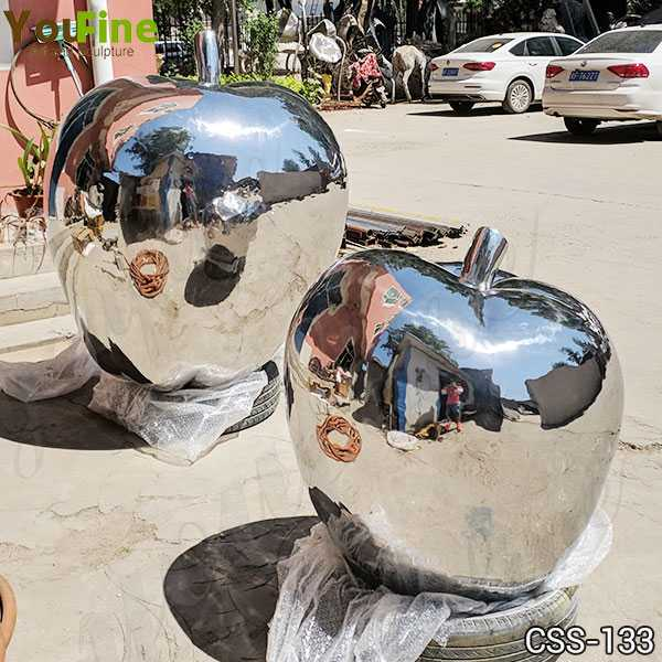 Modern Mirror Polished Stainless Steel Apple Sculptures for Sale