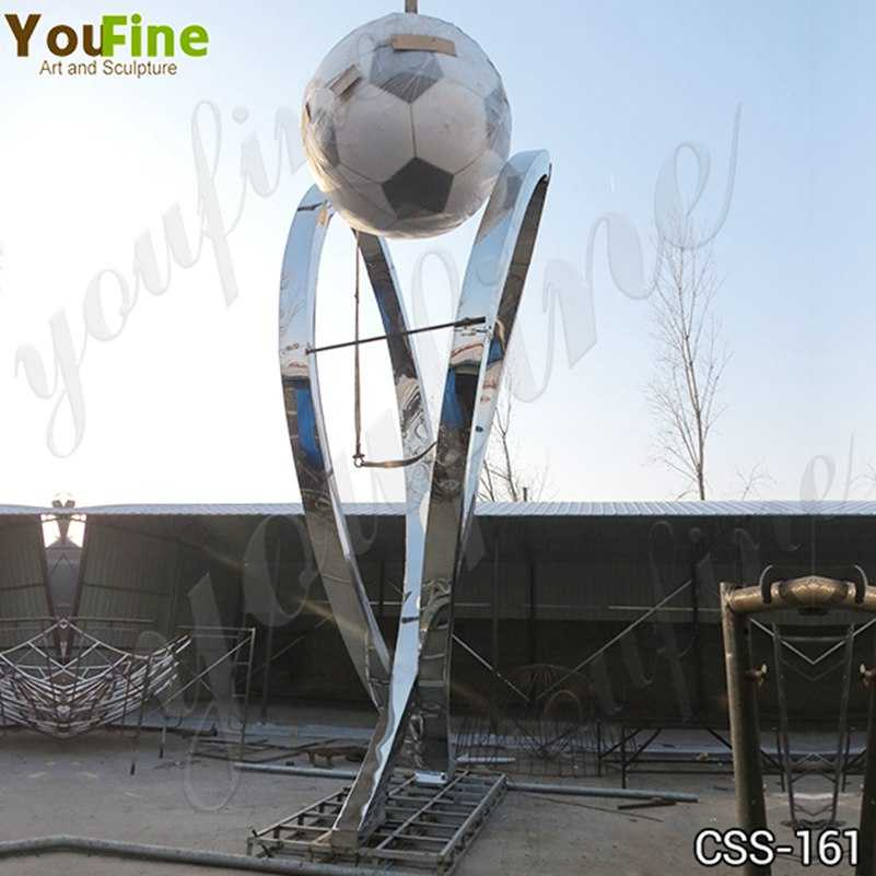 Modern Large Stainless Steel Abstract Football Sculpture Supplier CSS-161