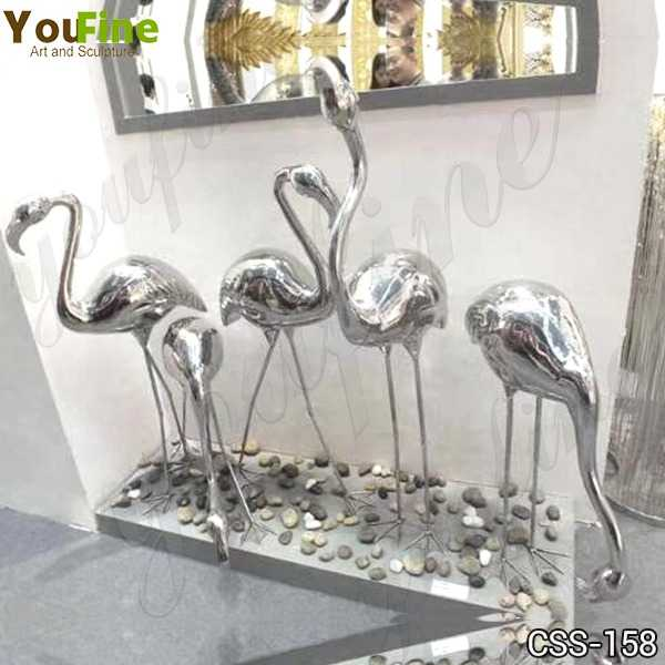 Modern Stainless Steel Crane Sculptures for Outdoor Lawn Decor