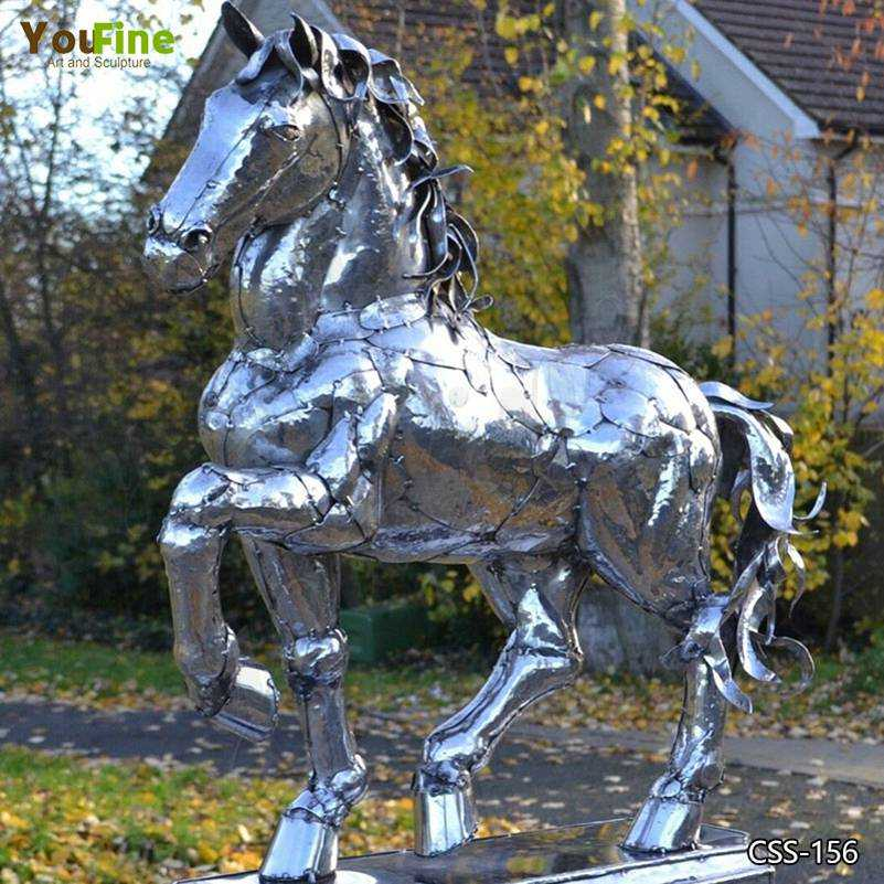 Outdoor Modern Stainless Steel Horse Sculpture Art for Sale CSS-156