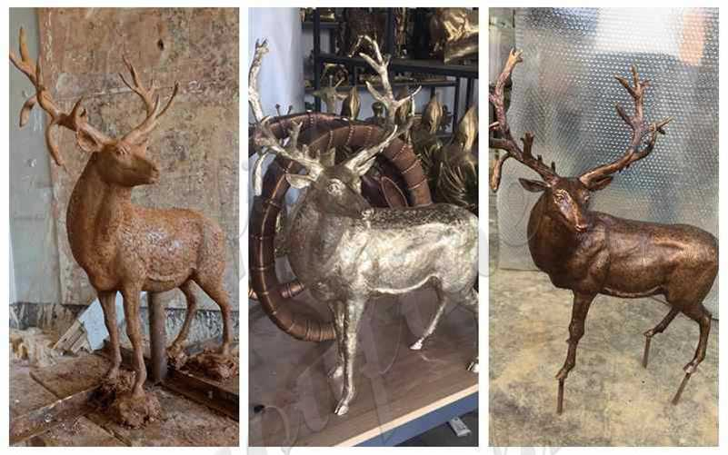 Outdoor Antique Bronze Reindeer Statue for Sale