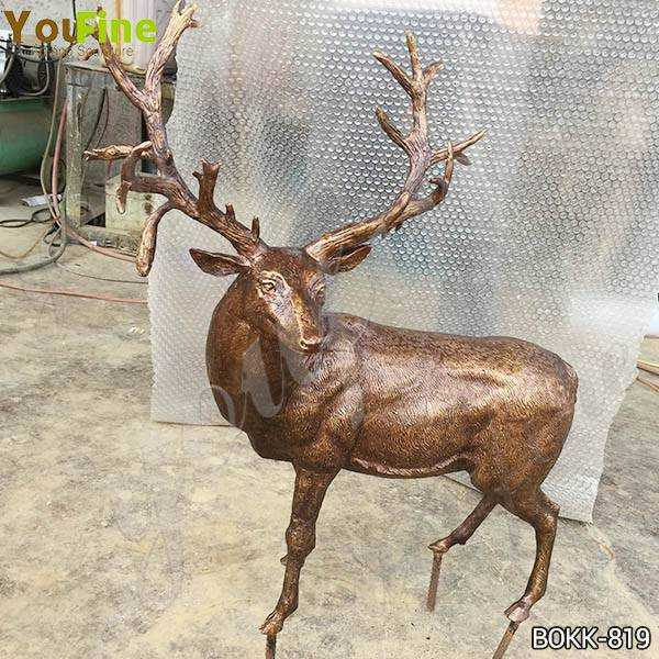 Outdoor Antique Bronze Reindeer Statue for Sale BOKK-819
