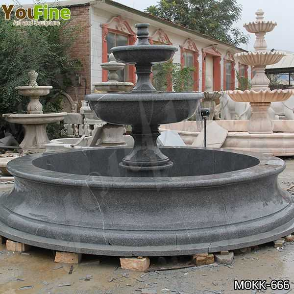 Outdoor Black Granite Tiered Water Fountain Manufacturers MOKK-666