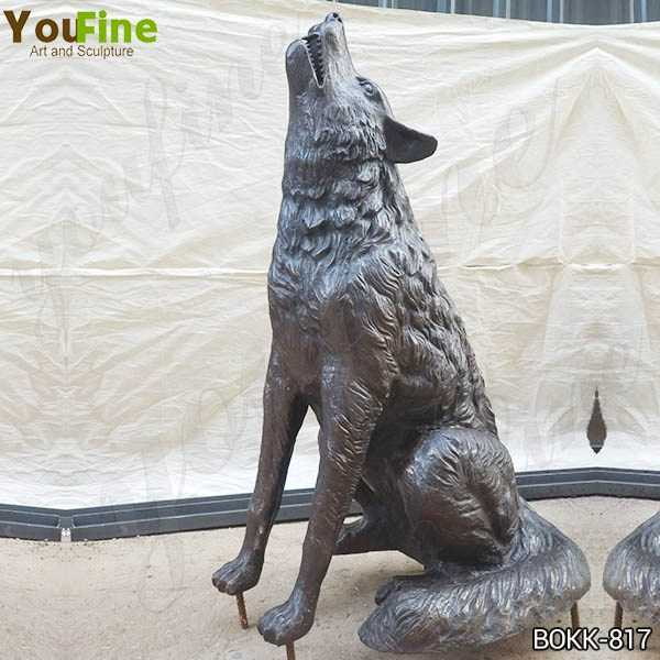 Outdoor Life Size Bronze Howling Wolf Statue
