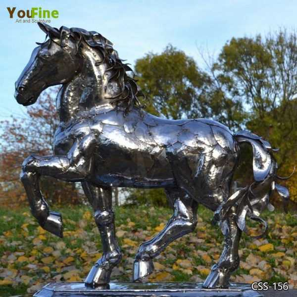 Outdoor Modern Stainless Steel Horse Sculpture Art for Sale