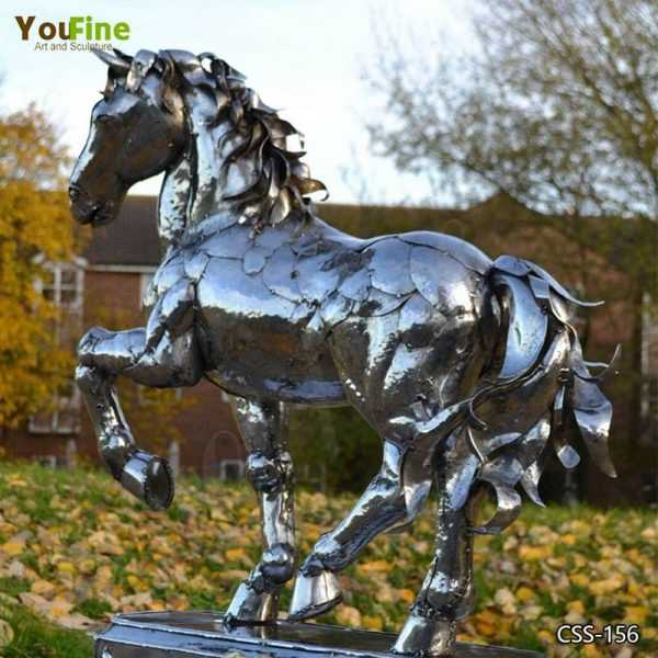 Outdoor Modern Stainless Steel Horse Sculpture for Sale