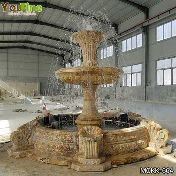 Outdoor Natural Yellow Travertine Stone Water Fountain for Sale MOKK-664