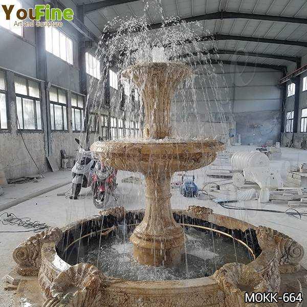 Outdoor Natural Yellow Travertine Stone Water Fountain