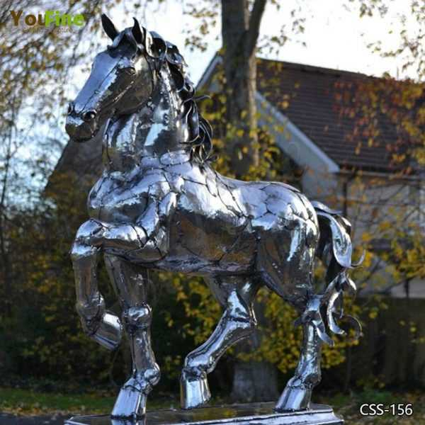 Outdoor Stainless Steel Horse Sculpture Art for Sale