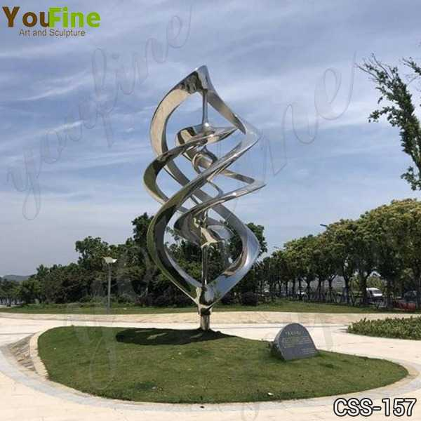 Outdoor Mirror Polished Abstract Stainless Steel Sculpture Supplier CSS-157