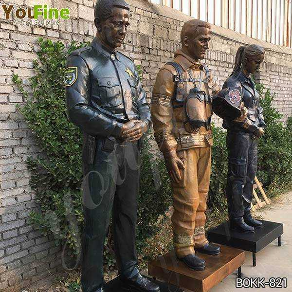 Set of Bronze Officer Firefighter and EMS Statues for US Client