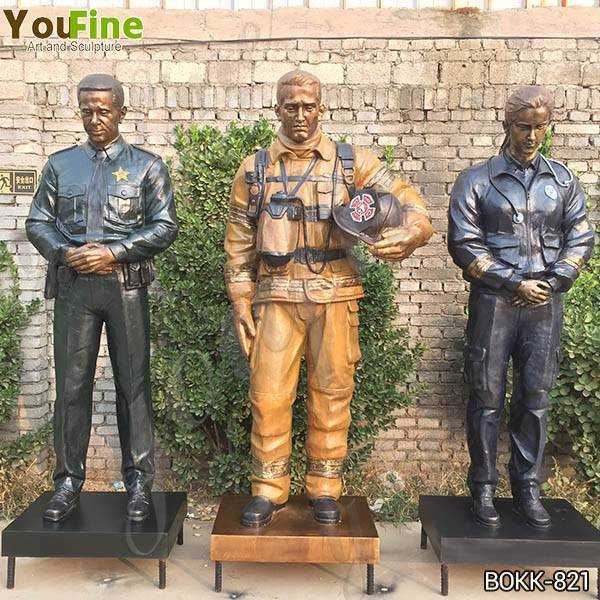 Custom Made Set of Bronze Officer Firefighter and EMS Statues for US Client BOKK-821