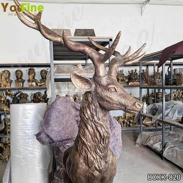 Solid Life Size Bronze Standing Deer Sculpture Supplier