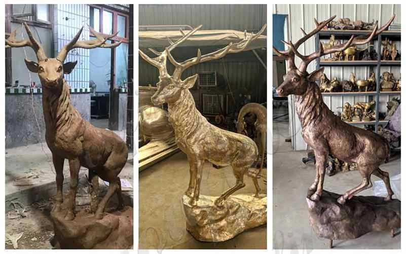 Solid Life Size Bronze Standing Deer Sculpture detail