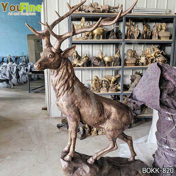 Solid Life Size Bronze Standing Deer Sculpture