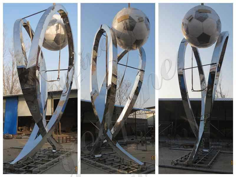Stainless Steel Abstract Football Sculpture Supplier