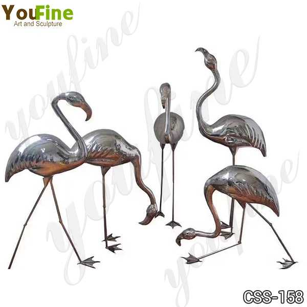 Stainless Steel Crane Sculptures for Outdoor Lawn