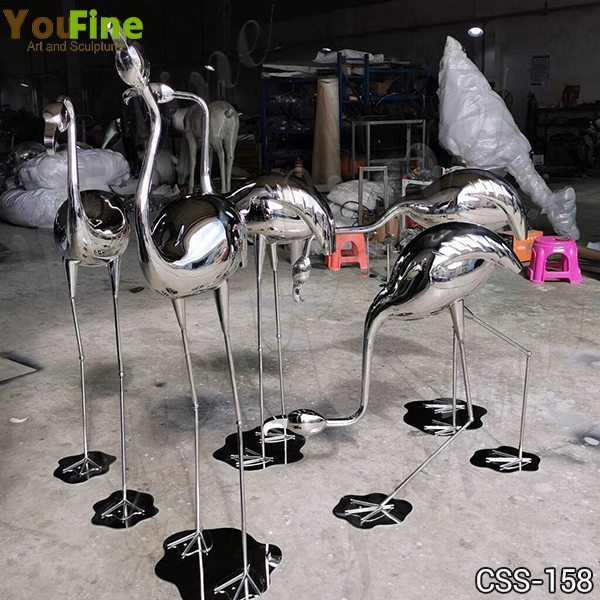 Stainless Steel Crane Sculptures