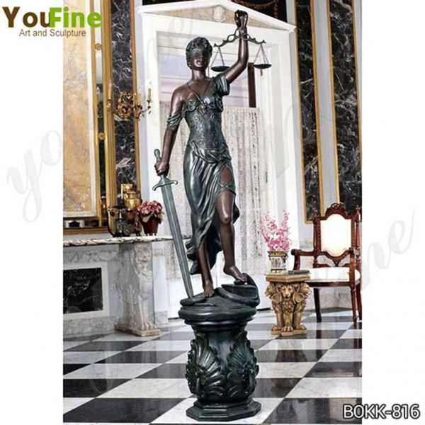 The bronze goddess Themis sculpture