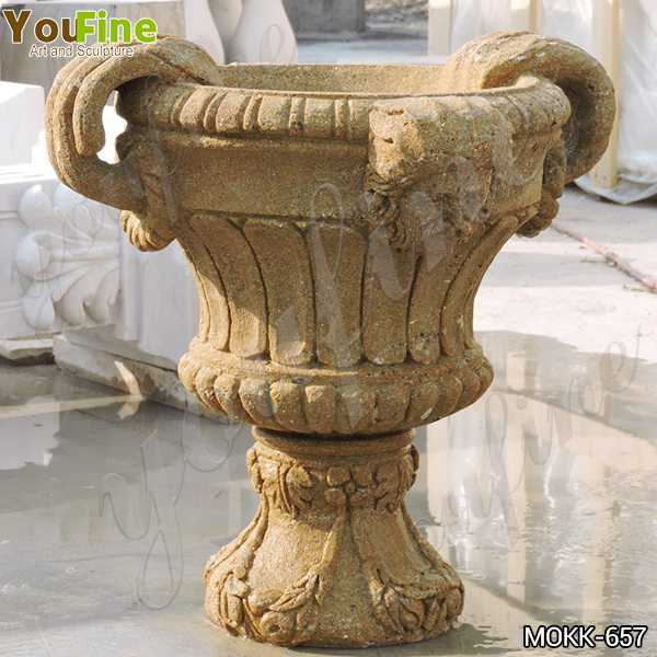 Antique Yellow Travertine Flower Pot for Garden Decor Manufacturers MOKK-657