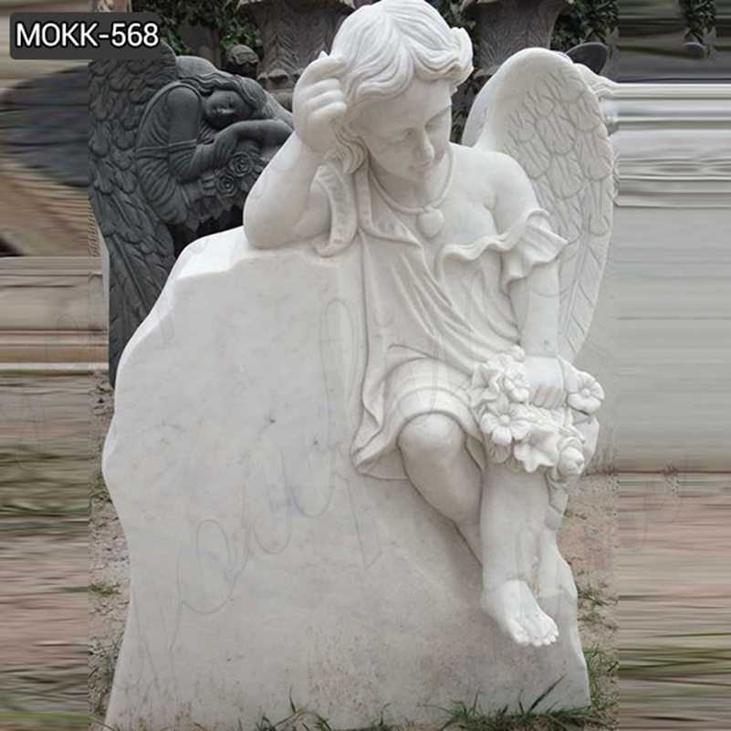 White Marble Baby Angel Headstone Monument Design for Sale MOKK-568