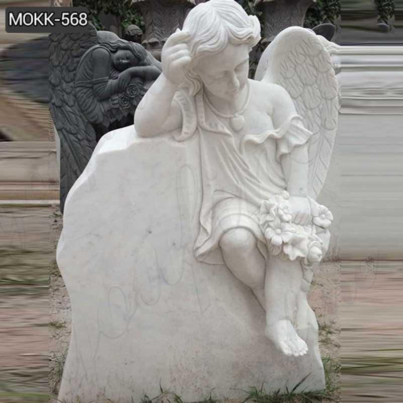 White Marble Baby Angel Headstone Monument Design for Sale MOKK-568