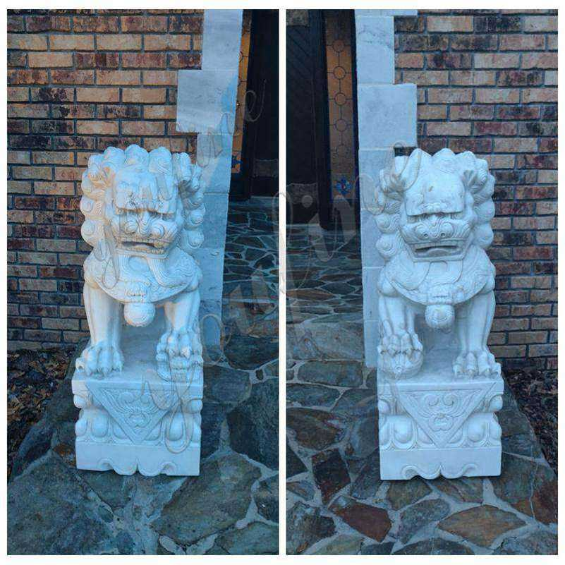 White Marble Chinese Foo Dog Statue Feedback from Our American Customer