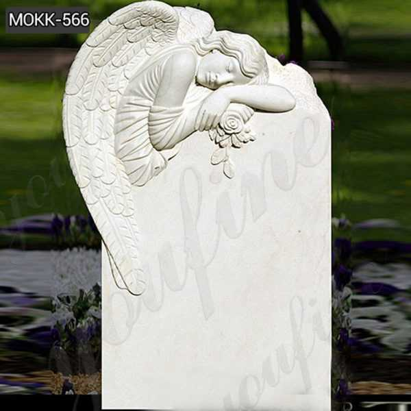 White Marble Upright Angle Headstone Factory Supply