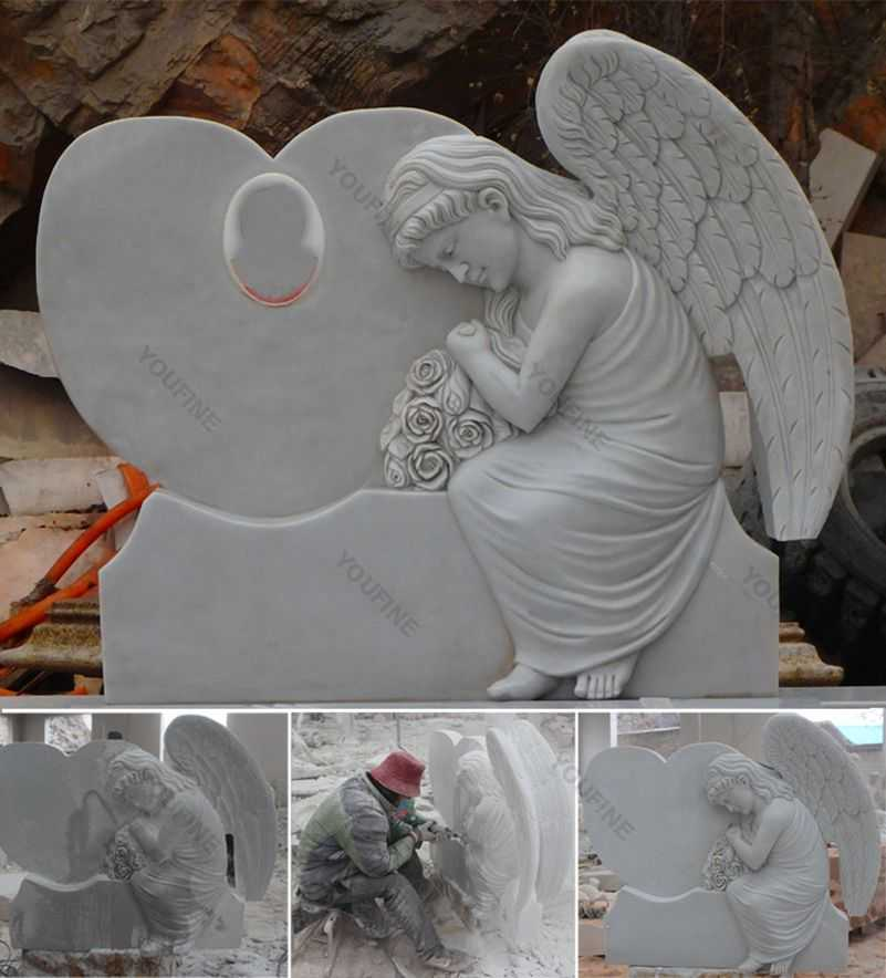 White Marble Upright Angle Headstone