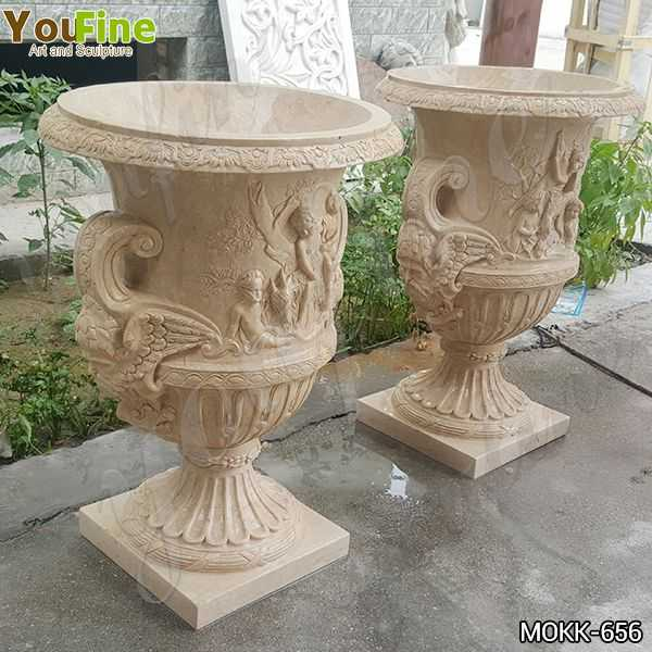 Commercial Yellow Marble Planters and Pots Manufacturers MOKK-656