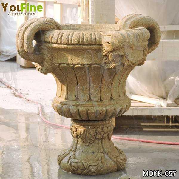 Yellow Travertine Flower Pot for Garden Decor Manufacturers