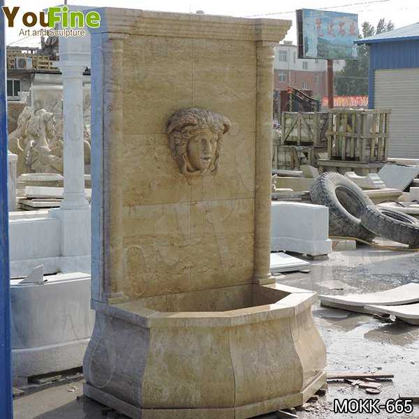 Yellow Travertine Medusa Head Wall-Mounted Fountain Online