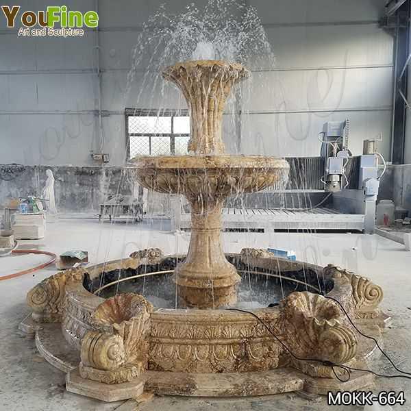 Yellow Travertine Stone Water Fountain for Sale