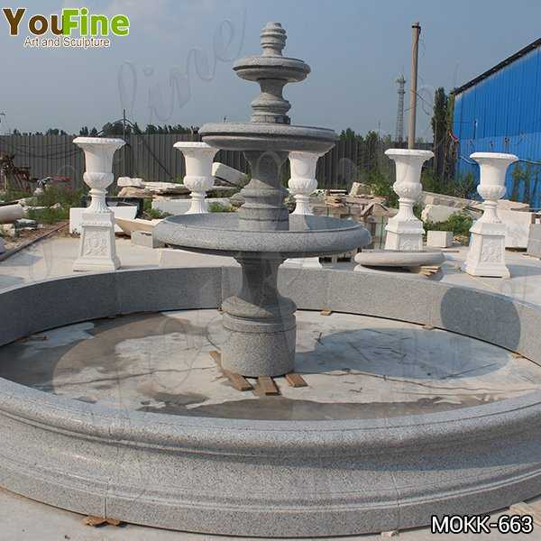 Contemporary Polished Granite Tiered Fountain	Simple Design for Sale MOKK-663