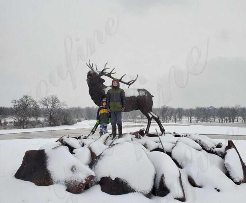 bronze wild deer sculpture