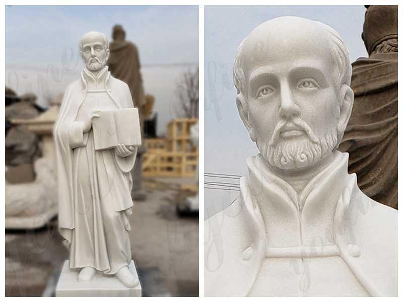 detail Full Size Marble St. Ignatius of Loyola Statue