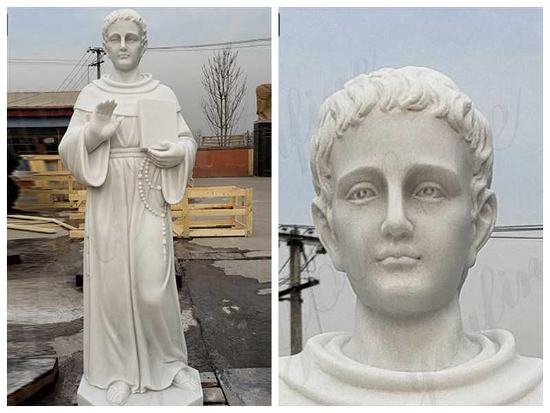 detail White St. Thomas Aquinas Marble Statue