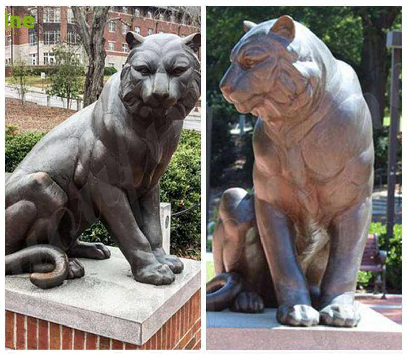 detail of Metal Bronze Tiger Statue