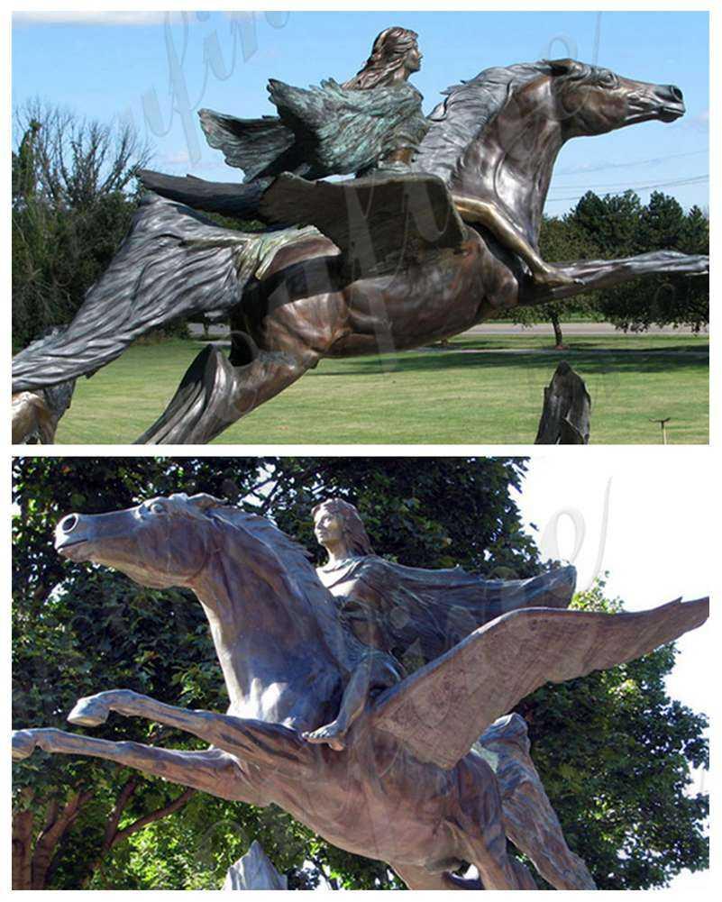 detal of Pegasus Bronze Garden Statue