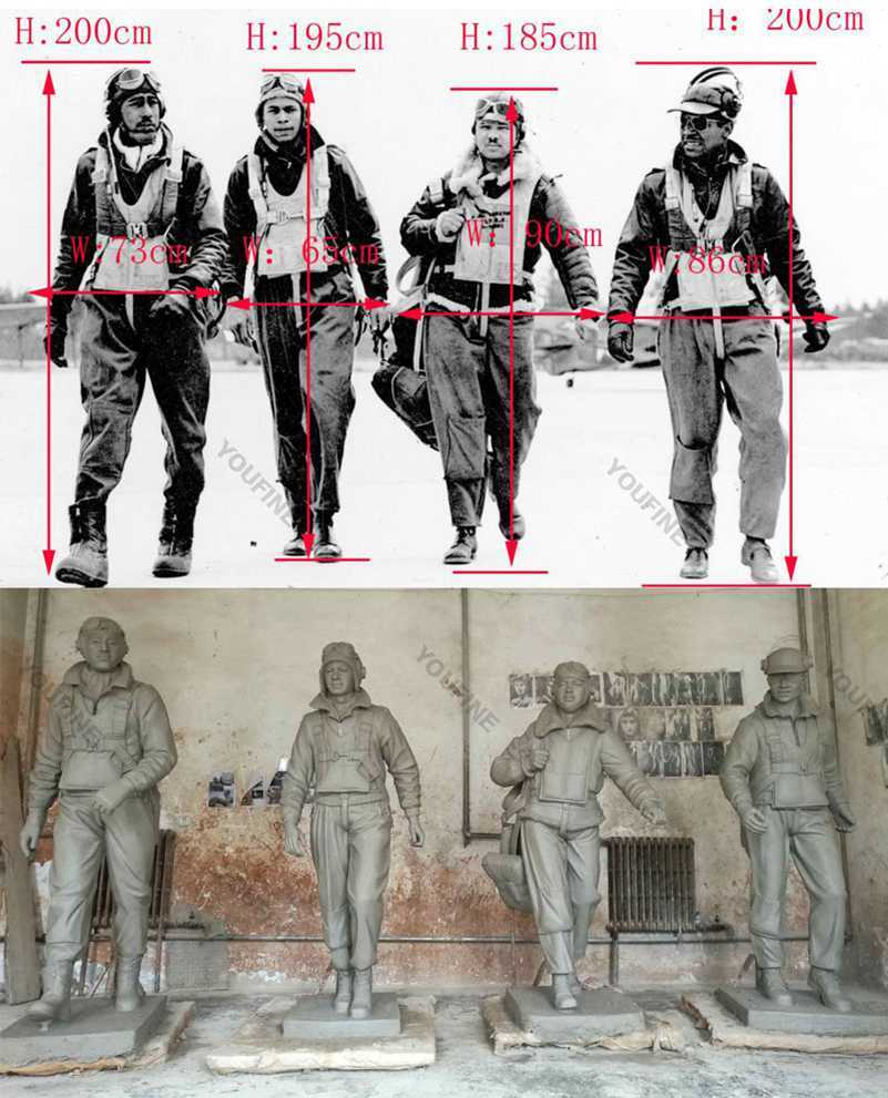 life size polit soliders statues from a photo