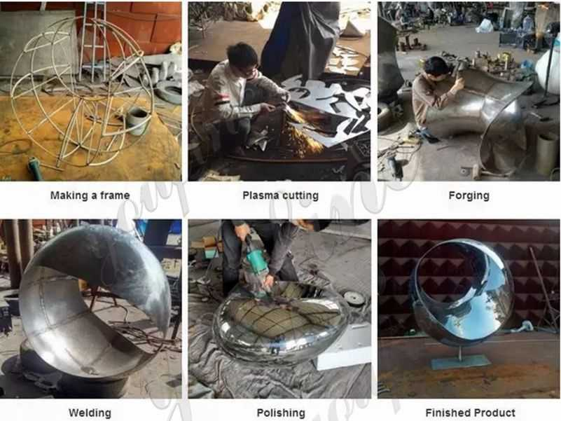 process of Stainless Steel Crane Sculptures