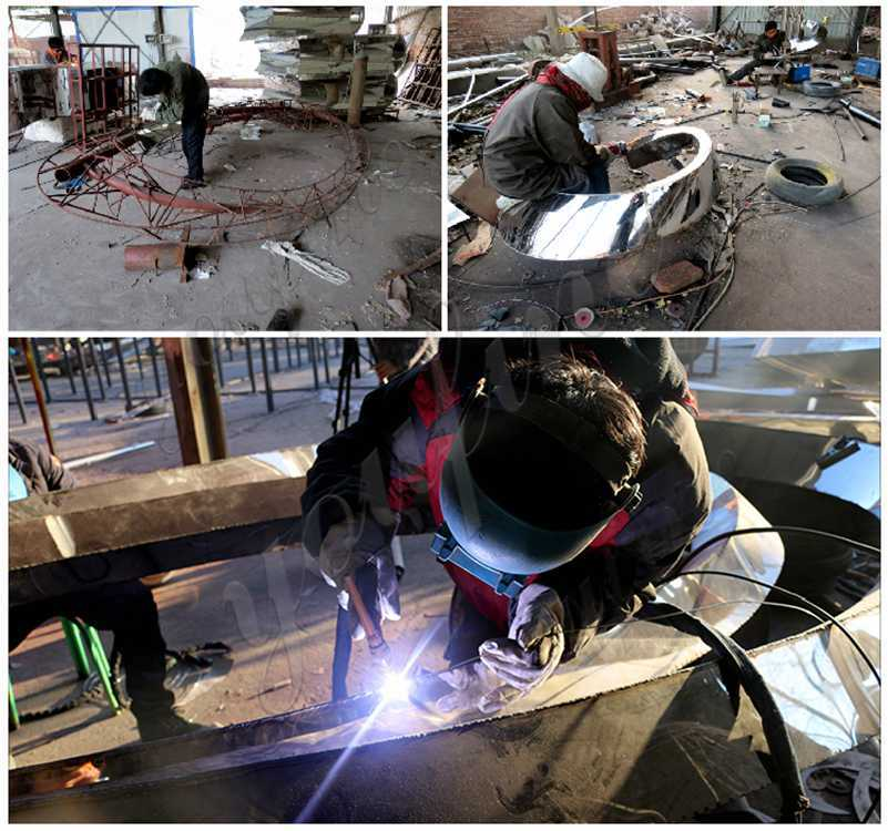 process of stainless steel football sculpture